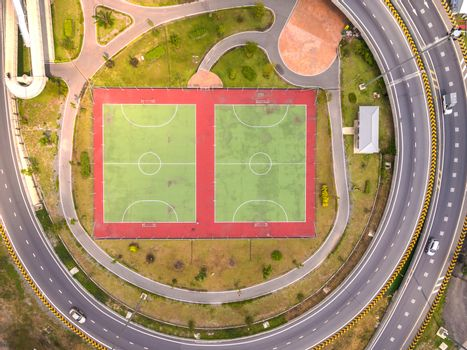 Top view over outdoor sports court, Aerial view over the road an