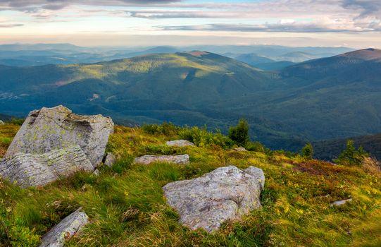 boulders on the edge of hillside