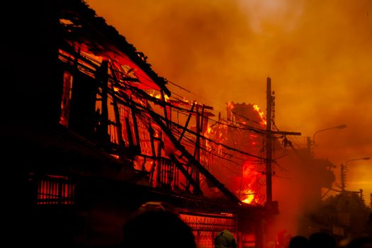 The silhouette of Burning house, House on fire