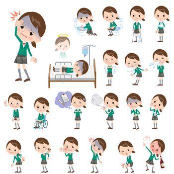 school girl Green Blazer About the sickness