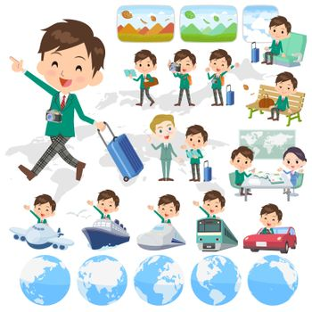 Set of various poses of school boy Green Blazer travel