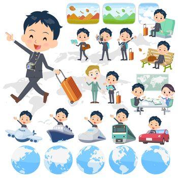 Set of various poses of school boy gakuran travel