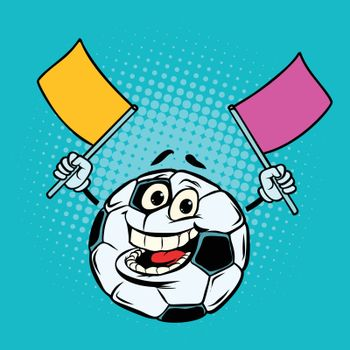 Fan with flags. Football soccer ball. Funny character emoticon sticker. Sport world championship competition. Comic cartoon pop art retro vector illustration