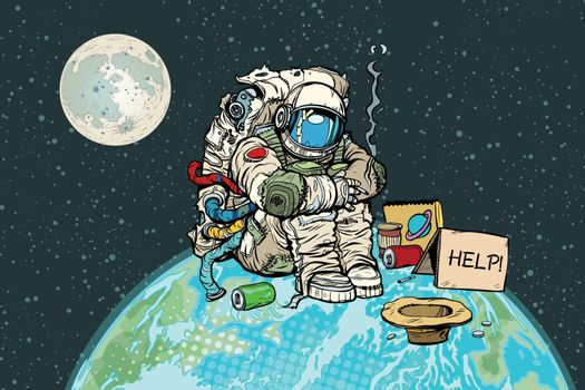 Poor hungry astronaut on planet earth