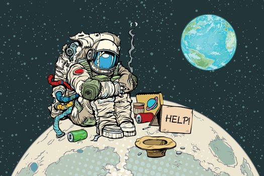 Poor hungry astronaut on the moon