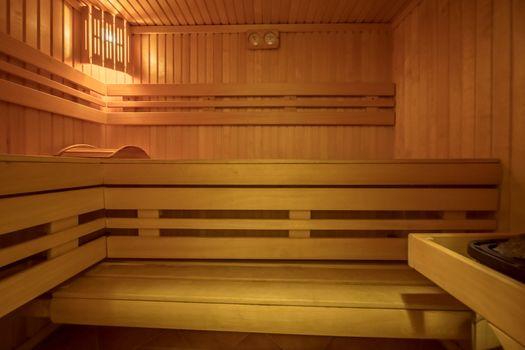 Sauna room interior Finnish heat bath made of natural wood