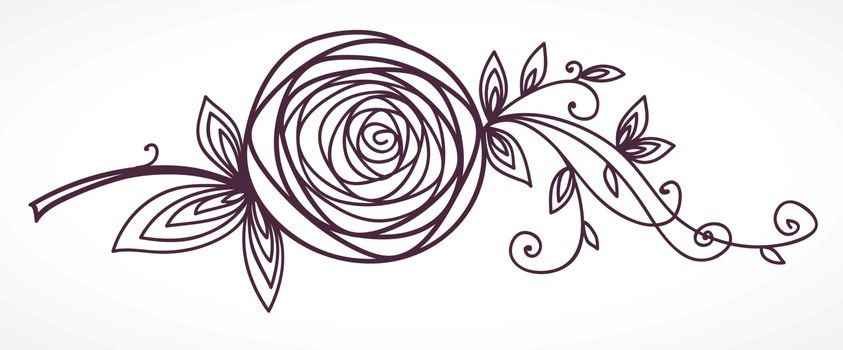 Rose. Stylized flower for the design of wedding and birthday invitation cards. Drawing sketches. Outline icon symbol.
