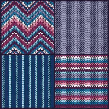 Seamless knitted pattern. Set of blue pink white gray color backgrounds.