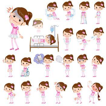 Pop idol in pink costume sickness