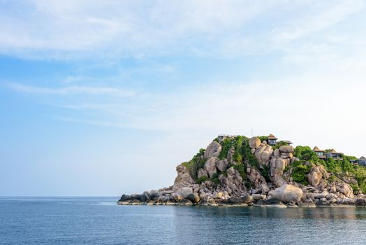 Beautiful nature landscape of resort on Shark Cape, Ao Leuk bay area under the blue sky on the sea during summer at Ko Tao island is a famous tourist attractions in the Gulf of Thailand, Surat Thani