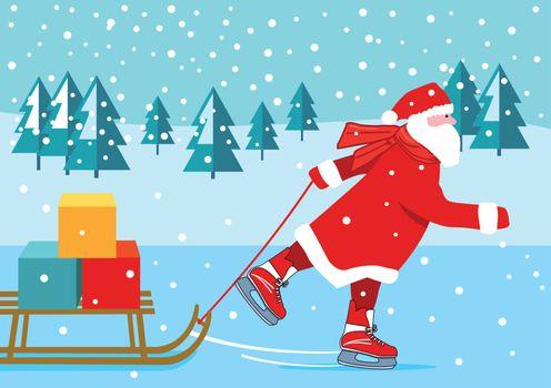 Santa Claus skating, illustration