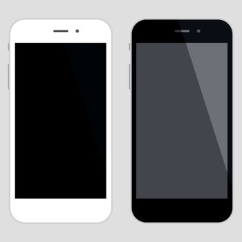 High details mobile phone illustration with blank white screen.