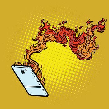 smartphone flames. destruction of technology
