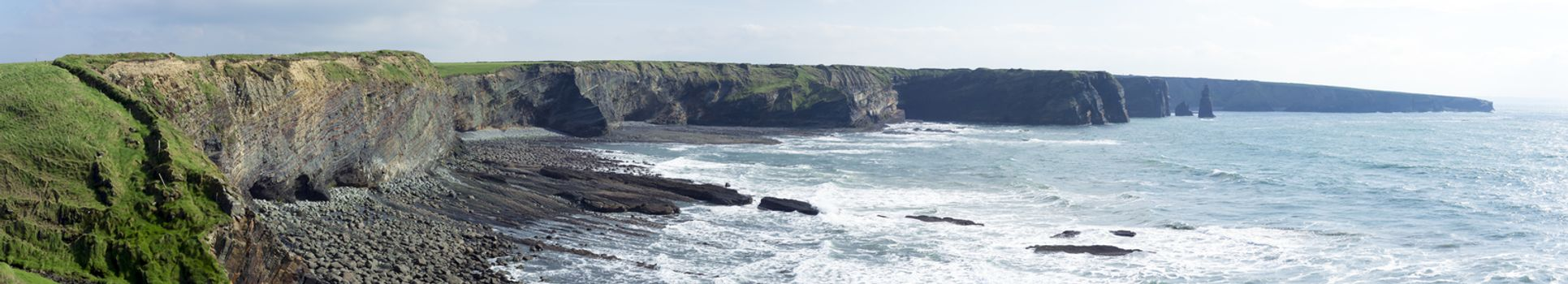 rocky coastline and cliffs in county kerry ireland on the wild atlantic way