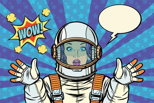 wow pop art woman astronaut