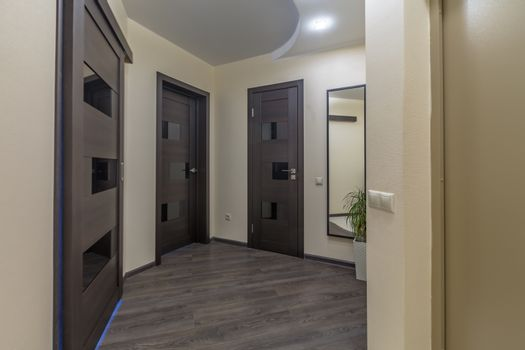 Residential building apartment doors entrance with door bell