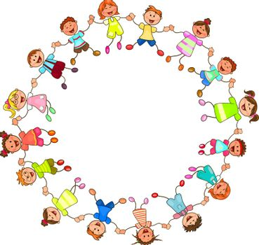 Children are holding each other's hands. Group of cheerful, smiling children holding hands in a circle. Cartoon of joyful children.