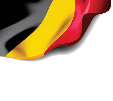 Waving flag of Belgium close-up with shadow on white background. Vector illustration with copy space for your design