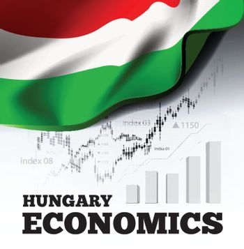 Hungary economics vector illustration with hungarian flag and business chart, bar chart stock numbers bull market, uptrend line graph symbolizes the welfare growth