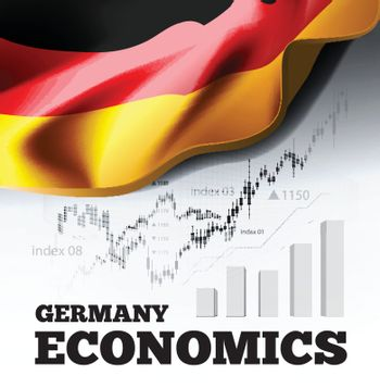 Germany economics vector illustration with german flag and business chart, bar chart stock numbers bull market, uptrend line graph symbolizes the welfare growth