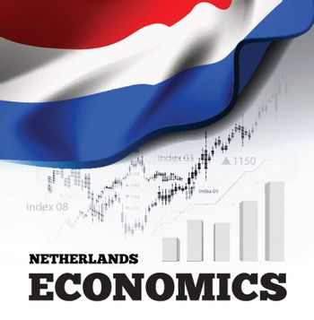 Netherlands economics vector illustration with holland flag and business chart, bar chart stock numbers bull market, uptrend line graph symbolizes the welfare growth