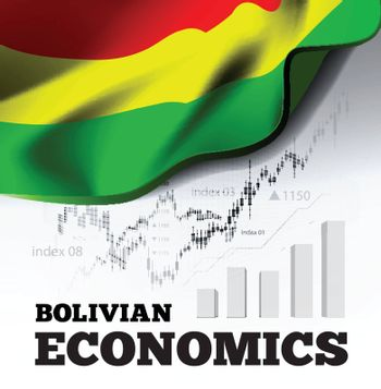 Bolvian economics vector illustration with bolivia flag and business chart, bar chart stock numbers bull market, uptrend line graph symbolizes the welfare growth