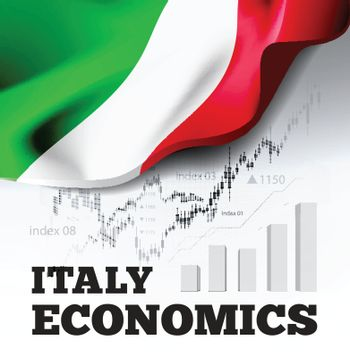 Italy economics vector illustration with italian flag and business chart, bar chart stock numbers bull market, uptrend line graph symbolizes the welfare growth