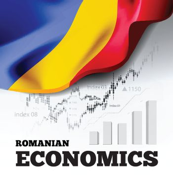 Romanian economics vector illustration with romania flag and business chart, bar chart stock numbers bull market, uptrend line graph symbolizes the welfare growth