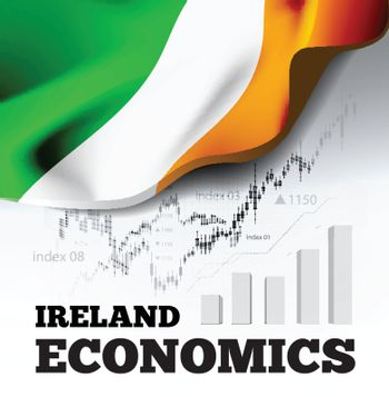 Ireland economics vector illustration with ireland flag and business chart, bar chart stock numbers bull market, uptrend line graph symbolizes the welfare growth