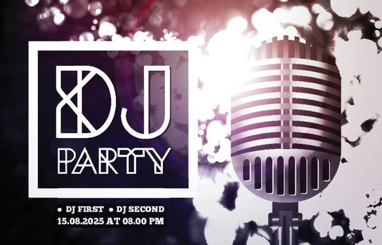 DJ disco party with microphone on bokeh background. Vector illustration