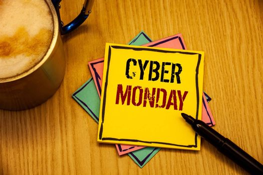 words writing textss Cyber Monday. Business concept for Special sales after Black Friday Online Shopping E-commerce