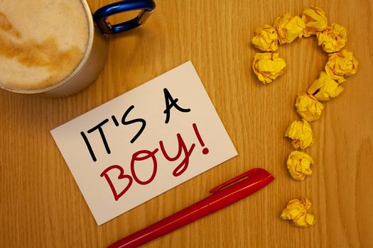 Words writing texts It S A Boy Motivational Call. Business concept for Male baby is coming Gender reveal CelebrationIdeas on paper red pen cup coffee quotation mark made of crumple papers