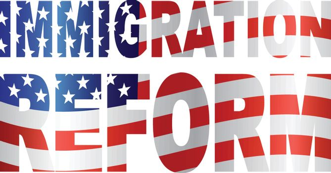 Government Immigration Reform Text Outline with USA American Flag Illustration