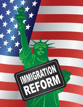 Government Immigration Reform Sign with Statue of Liberty with USA American Flag Illustration