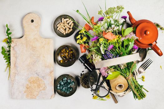 Healthy eating and herbal medicine concept