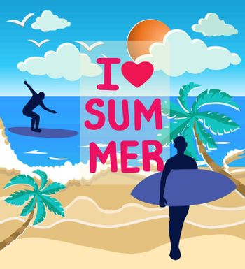 illustration of the sea, sun and surfers silhouettes on the beach. Decorative inscription I love summer For postcard poster graphic design.