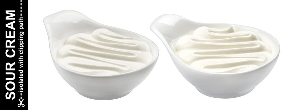 Sour cream isolated on white background with clipping path