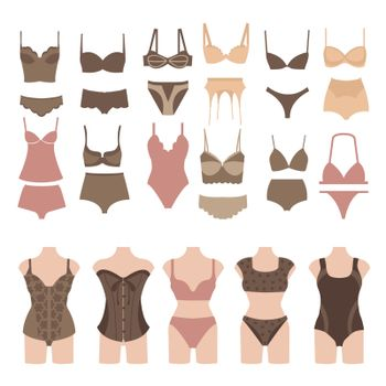 Vector Set of beautiful fashion lingerie elements. Underwear women icon set vector.