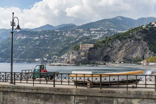 view of Maiori on the Amalfi coast in Campania, Italy