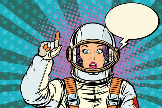 astronaut woman attention gesture. Caution warning
