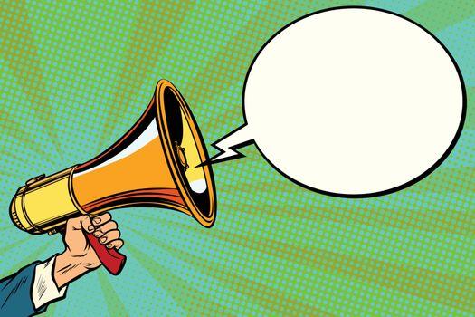 megaphone and comic bubble