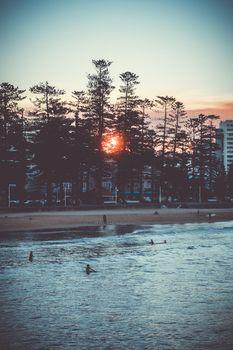 Manly Beach at sunset, Sydney, Australia