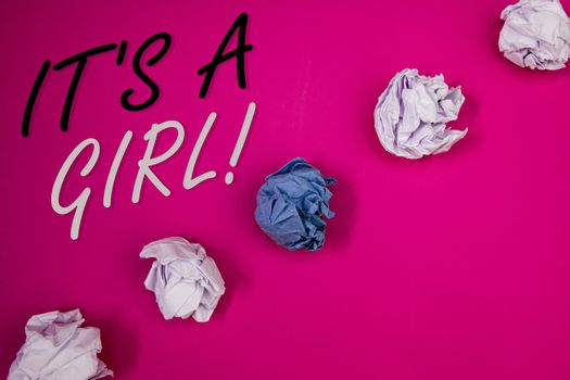 Handwriting textss writing It Is A Girl Motivational Call. Concept meaning Female baby coming Gender reveal Celebration