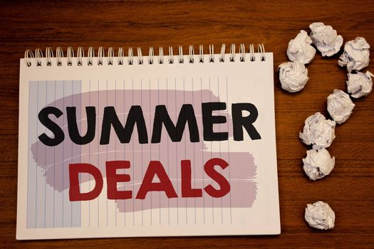 Writing note showing  Summer Deals. Business photo showcasing Special Sales Offers for Vacation Holiday Trips Price Discounts