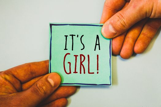 Handwriting texts writing It Is A Girl Motivational Call. Concept meaning Female baby coming Gender reveal Celebration