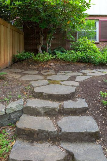 Steeping Stone Steps and Path to house fenced backyard garden