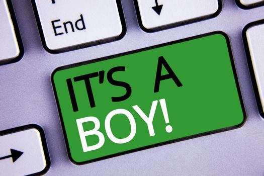 Conceptual hand writing showing It S A Boy Motivational Call. Business photo texts Male baby is coming Gender reveal Celebration