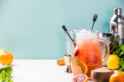 Summer drink and citrus fruits