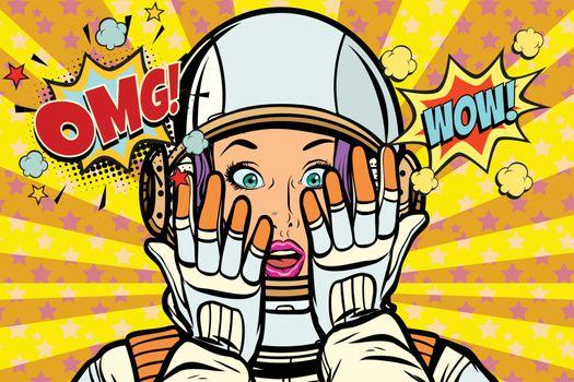 OMG wow pop art woman astronaut