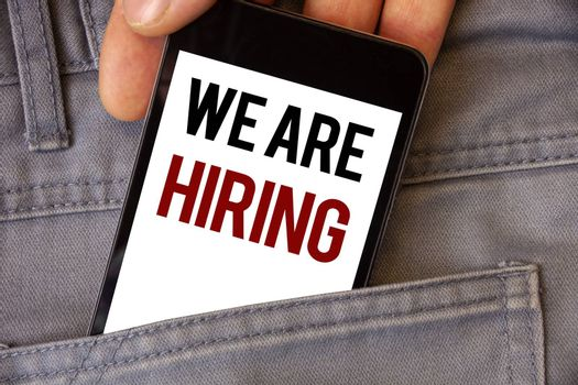 Conceptual hand writing showing We Are Hiring. Business photo textss Talent Hunting Job Position Wanted Workforce HR Recruitment
